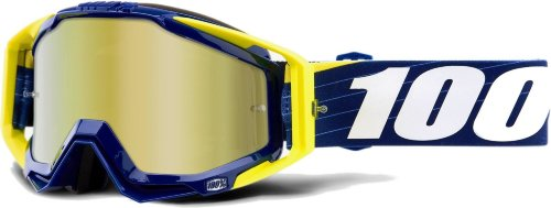 Мото очки 100% RACECRAFT Goggle Bibal/Navy - Mirror Gold Lens