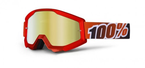 Мото очки 100% STRATA Goggle Fire Red - Mirror Red Lens