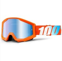 Мото очки 100% STRATA Goggle Orange - Mirror Blue Lens
